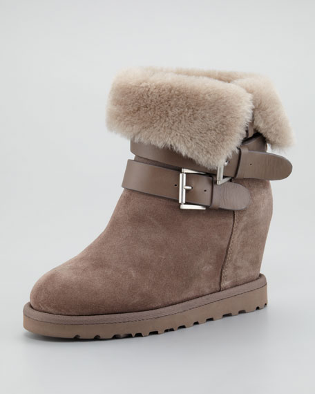 Yes Shearling-Cuff Wedge Boot, Taupe