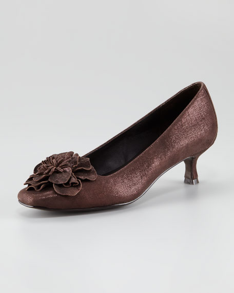 Susan Flower-Toe Kitten-Heel Pump