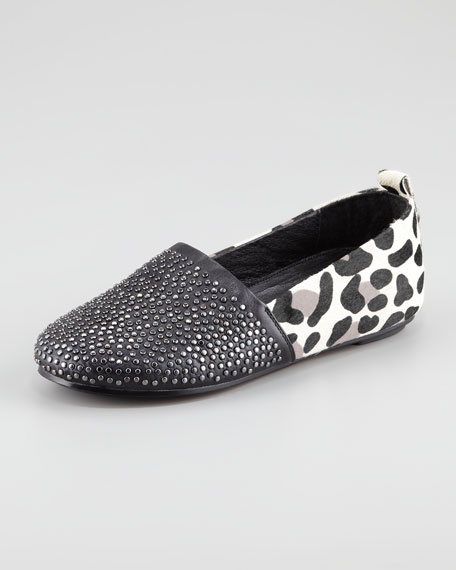 Kye Stud-Toe Calf-Hair Flat