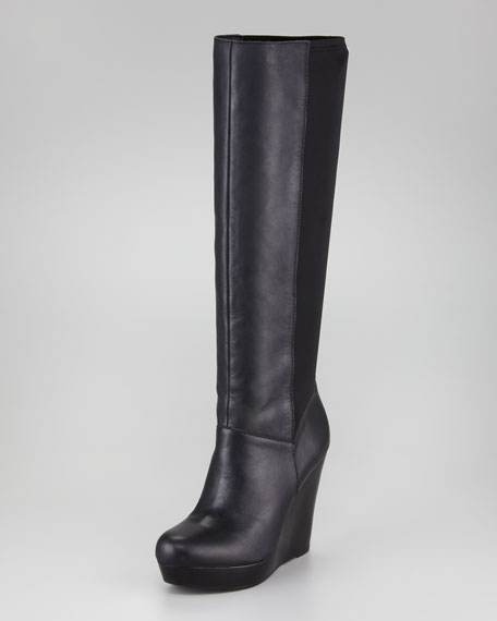 Leather Fabric-Back Wedge Boot