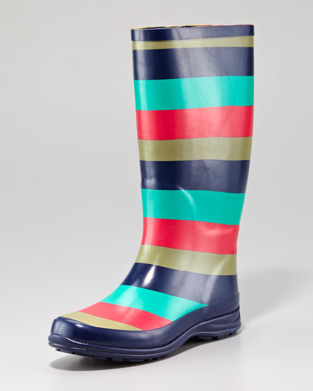 Striped Rain Boot, Navy