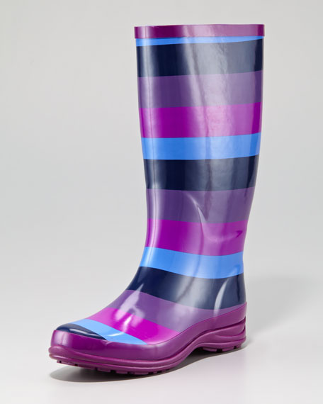 Striped Rain Boot, Clay