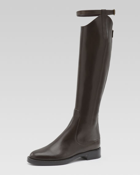 Victoria Equestrian Flat Leather Boot
