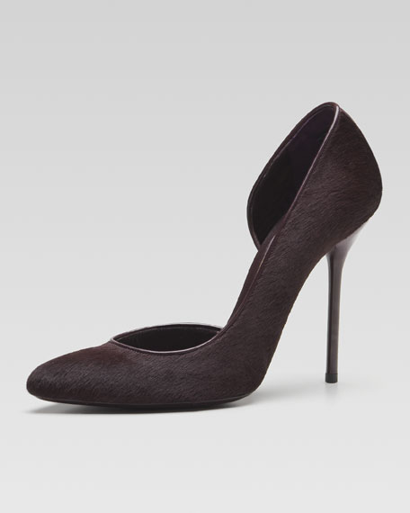 Noah Calf Hair High-Heel Cutout Pump