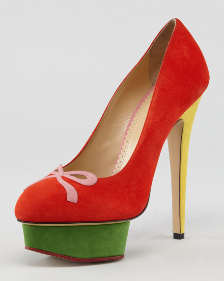 Arabella Colorblock Suede Bow-Toe Pump