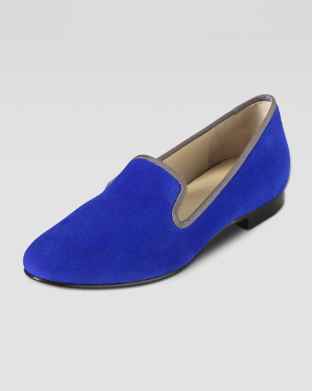 Sabrina Suede Smoking Slipper, Cobalt