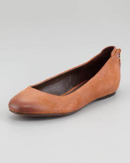 Hania Oiled Suede Ballerina Flat