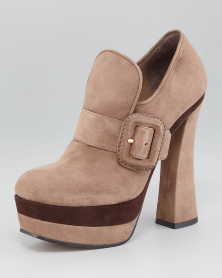 Buckled Suede Loafer Pump