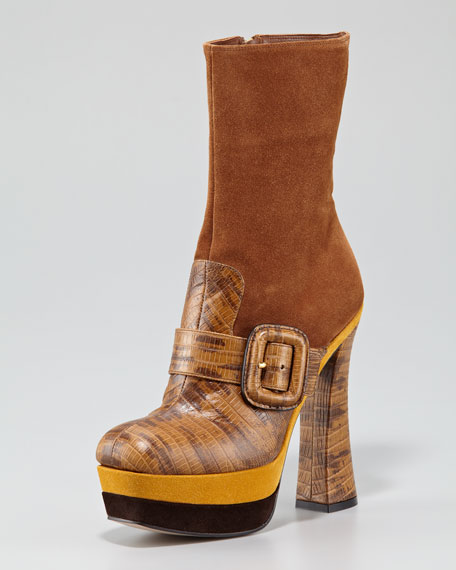 Suede-Faux Lizard Short Boot