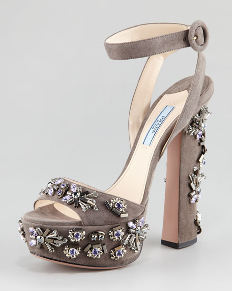 Jeweled Suede Sandal