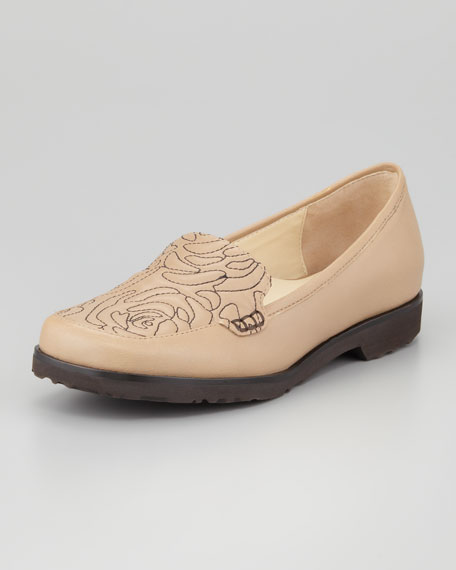 Jennifer Floral-Stitched Loafer Flat