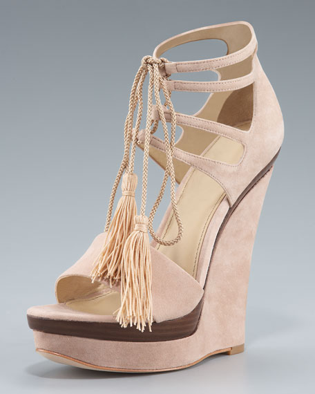 Tassel Suede Cutout Wedge