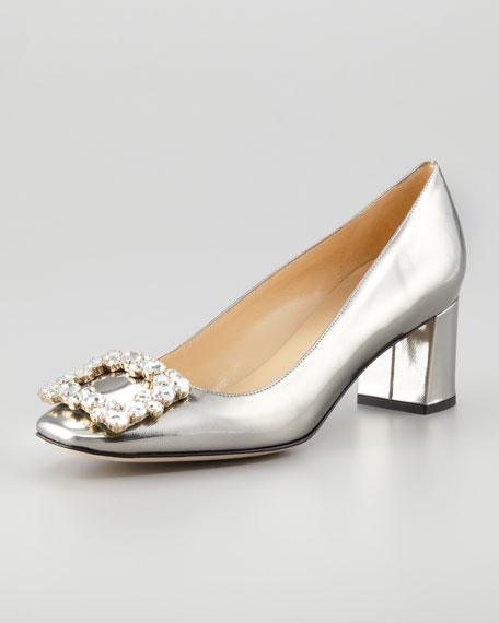 dandy specchio low-heel pump, pewter