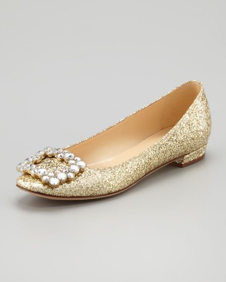 norella crystal-buckle glitter flat