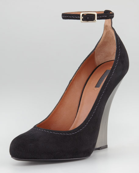 Ankle-Strap Suede Wedge