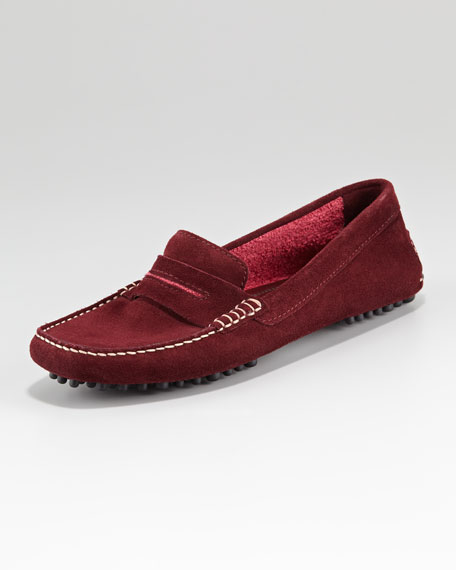 Terry-Trimmed Suede Driver, Burgundy