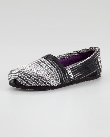 Striped Wool Slip-On, Black