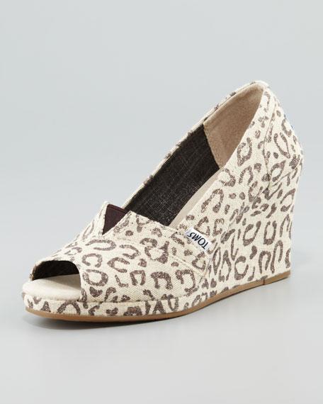 Snow Leopard Peep-Toe Wedge