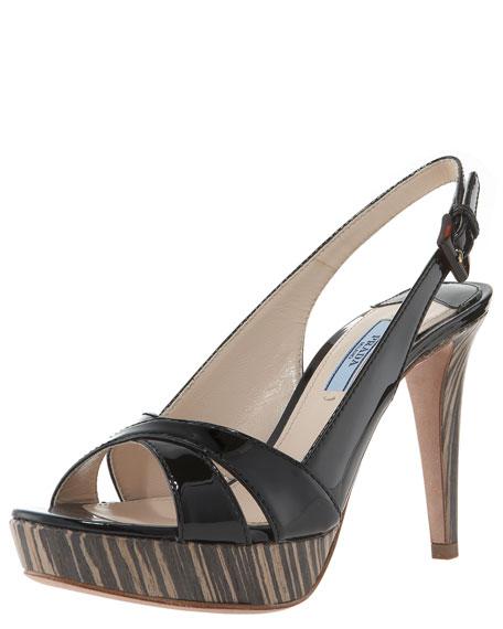 Prada Patent Crisscross Slingback Sandal
