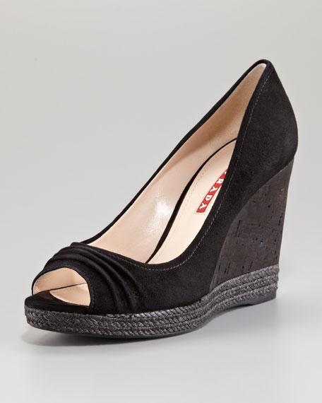 Prada Suede Espadrilled Peep Toe Wedge Sandal