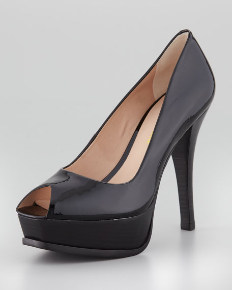 Portia Peep-Toe Patent Pump, Black