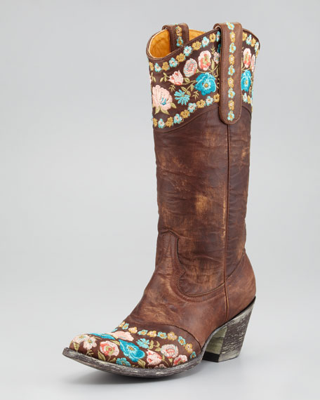 Gayla Overlay Floral Cowboy Boot