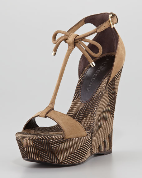 BurberrySuede and Check Canvas Wedge Sandal - Burberry Suede And Check Canvas Wedge Sandal