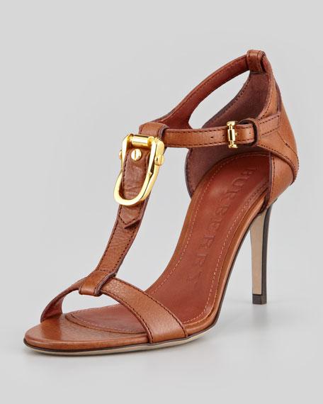 Bridle-Detail Leather T-Strap Sandal