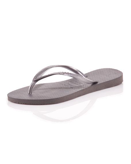 Slim Metallic Flip-Flop, Silver
