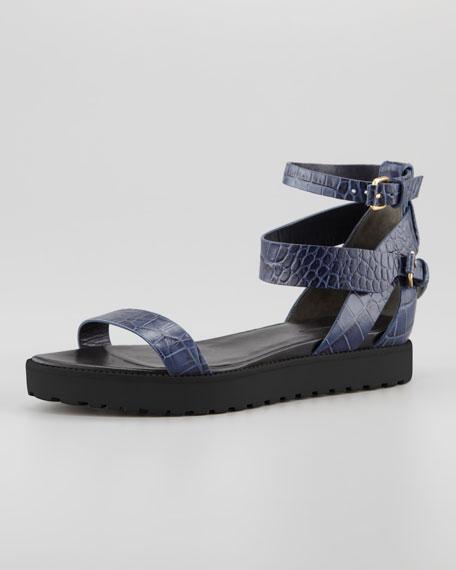 Jade Croc-Embossed Flat Sandal, Lapis