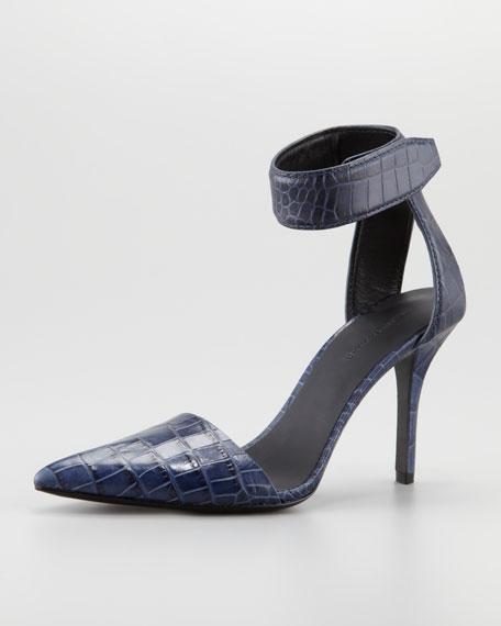 Liya Crocodile-Embossed Sandal, Lapis