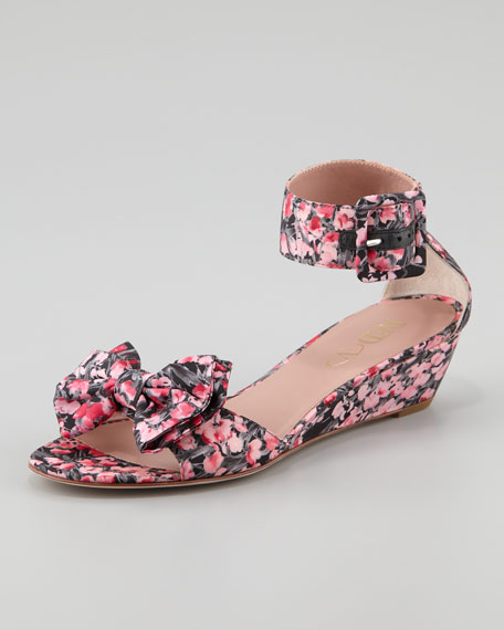 RED Valentino Lily of the Valley Low-Heel Bow Wedge