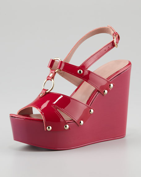 Patent Leather Slingback Platform Wedge, Cherry