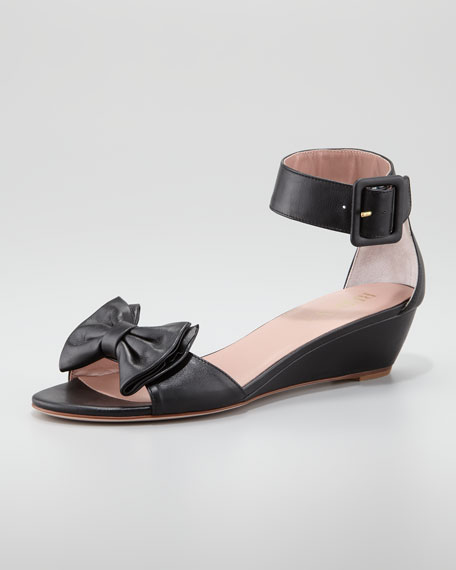 Calfskin Low-Wedge Sandal, Black