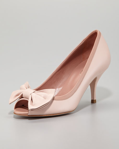 RED Valentino Calfskin Peep-Toe Bow Pump, Light Pink/Cammeo
