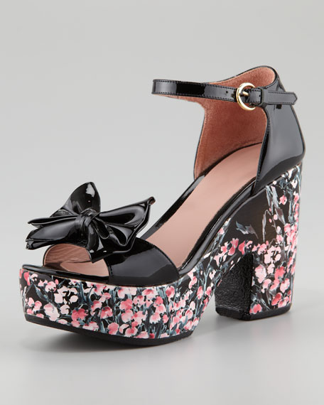 Lily of the Valley Bow Patent Chunky-Heel Sandal