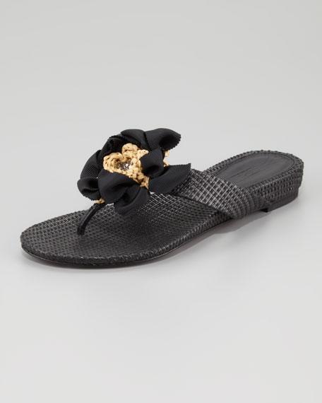 Blaine Woven Raffia Thong Sandal, Black