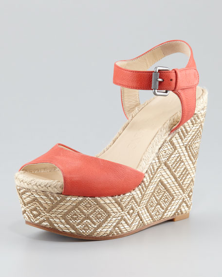 Malina Basket-Weave Wedge Sandal, Paprika/Teak