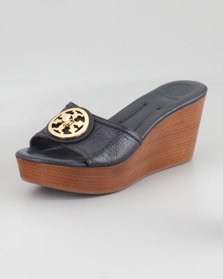 Selma Logo Wedge Slide, Tory Navy