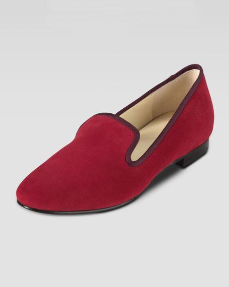 Sabrina Suede Smoking Slipper, Tango Red