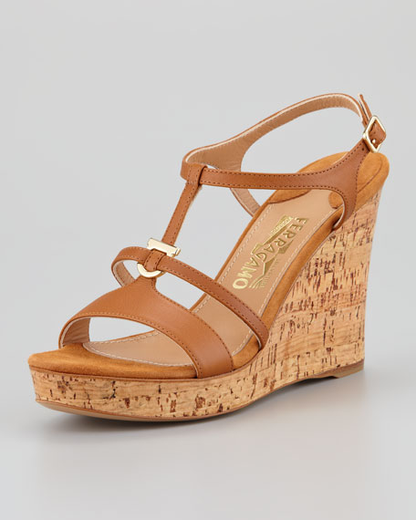 Savita Cork Wedge Sandal, Tan