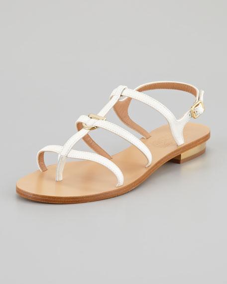 Senia Gancini Flat Thong Sandal, White