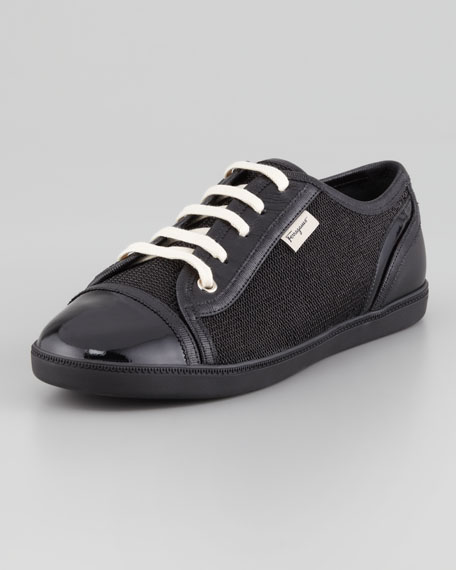 Soho Lace-Up Low-Top Sneaker, Black