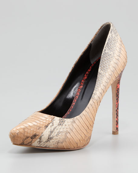 Watersnake Pointed-Toe Pump, Natural