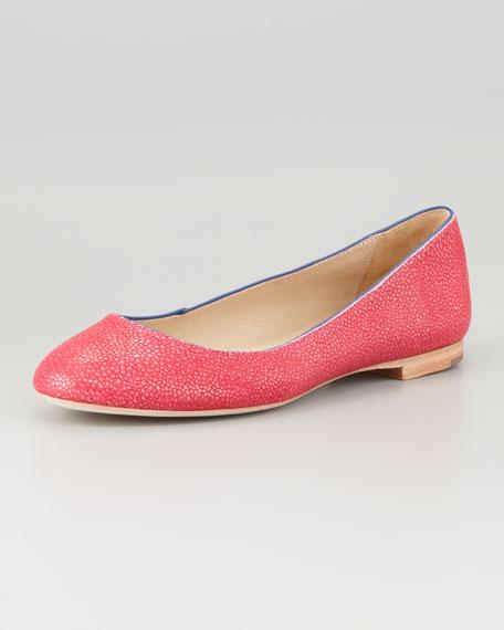 Jailyn Stingray-Textured Ballerina Flat, Hot Pink