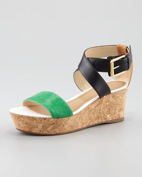 Forrest Cork Wedge Sandal, Green