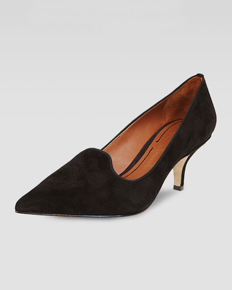 Clark Pointed-Toe Suede Smoking-Slipper Pump, Black