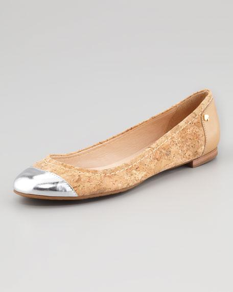 terry cork cap-toe ballerina flat, natural/silver