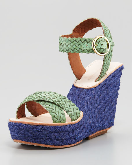 Origenes Wedge Espadrille, Green Haze/Blue