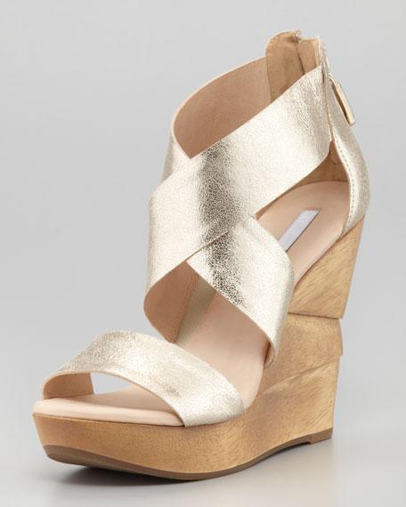 Opal Crisscross Wedge Sandal, Platino